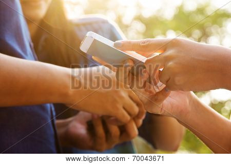 Teenagers With Mobile Phone