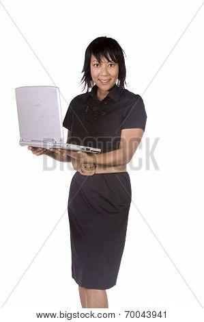 Asian Businesswoman Holding A Laptop