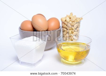 Health cashew nuts, olive oil, eggs and sugar, these are food for energy