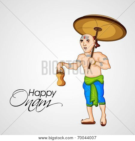 Illustration of Vamana holding traditional pot and umbrella on grey background for South Indian festival Happy Onam celebrations.