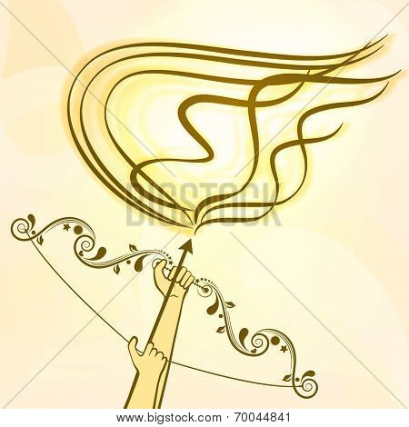 Image of the hands of Lord Rama holding his flowrel decorated bow and arrow with fire on a shaded background.