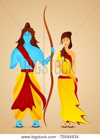 Blue Illustration of Lord Ram holding his bow and Goddess Sita with giving Blessing in red and yellow clothes.
