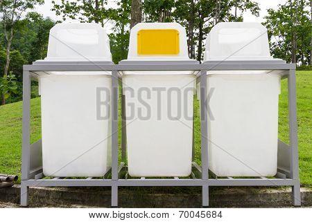 Rubbish Bin In The Park - Public Area