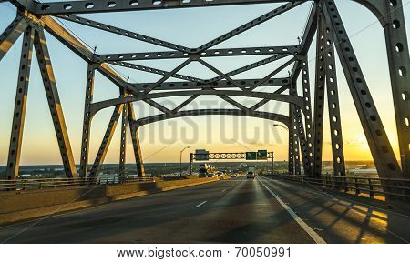 View Of The Baton Rouge Bridge On Interstate Ten Over The Mississippi River In Louisiana.