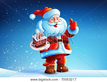 Cake in the hands of Santa Claus