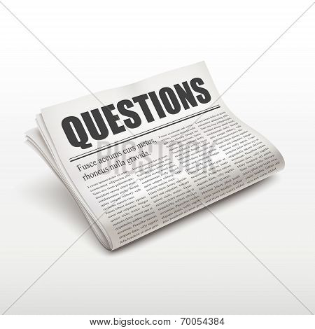 Questions Word On Newspaper