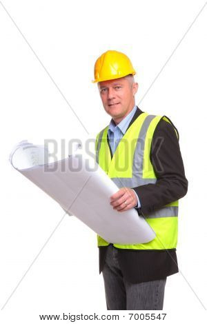 Architect With Site Drawings
