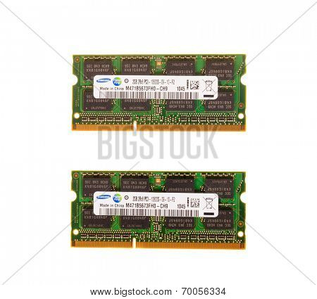 Hayward, CA - August 11, 2014: 2GB Samsung PC3 10600 memory stick for laptop or iMac
