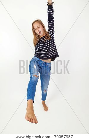 Young Beauty  Girl Flying In Jump With Brown Hair