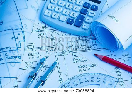 blueprint for a house. drawings and plans of an architect.