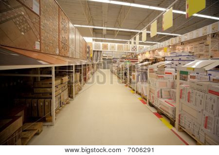 Racks with ceramic tile in warehouse of building materials