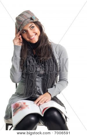 Positive Happy Young Woman With Magazine