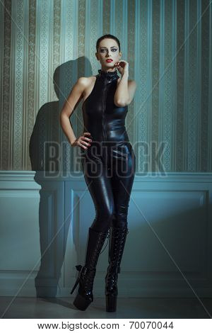 Sexy Woman In Latex Catsuit Posing