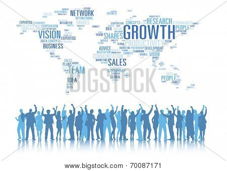 Silhouettes of Business People Arms Raised and Global Business Concepts