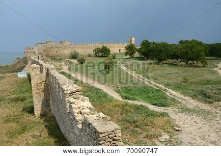 View Of Fortified Wall And Watchtower Of Middle Stronghold In Old Turkish Fortress Akkerman,Ukraine