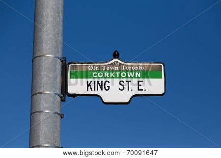 A sign for King Street East in Toronto poster