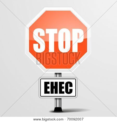 detailed illustration of a red stop ehec sign, eps10 vector