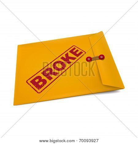 Broke Stamp On Manila Envelope