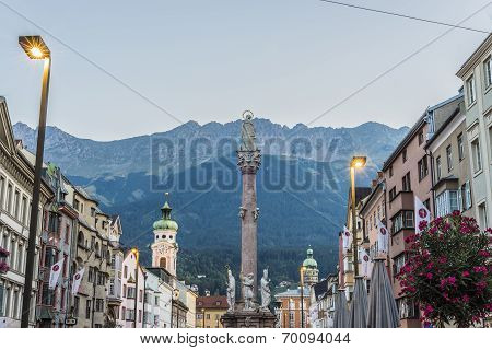 St Anne Column in Maria-Theresien Street a statue of the Virgin Mary atop a Corinthian red marble column erected in 1706 to celebrate the withdrawal of invading Bavarian armies in Innsbruck Austria. poster