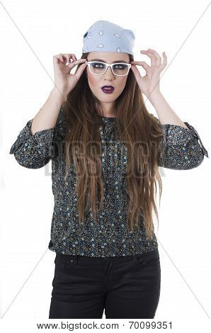 Beuatiful hippie young blond girl wearing bandana and glasses