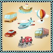 transport facilities illustration vintage design fly old bus car ship icon truck lorry cloud liner transport facilities illustration - vintage design - plane balloon steamer aircraft steamboat locomotive poster