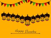 Angry faces of Ravana with his ten heads and small colorful flags on yellow background for Happy Dussehra celebrations. poster