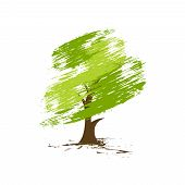 hand draw vector green tree on eco background, vector illustration poster
