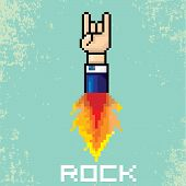 vector flat pixel art hand sign rock n roll music on on stylish grunge background. rock n roll icon with fire poster