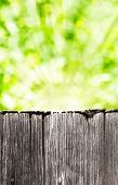 Empty weathered rustic old wooden board with abstract summer background poster