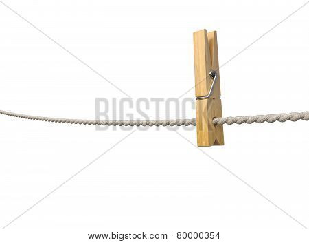Clothespin On Rope Isolated On White Background