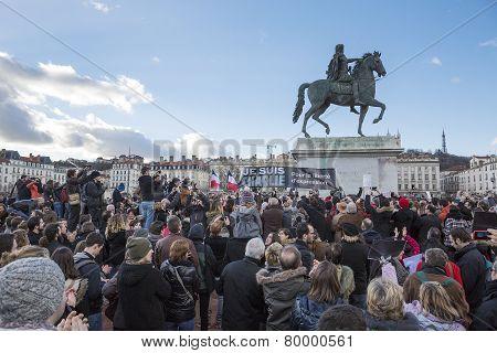 Lyon, France - January 11, 2015: Anti Terrorism Protest. 10