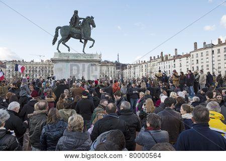 Lyon, France - January 11, 2015: Anti Terrorism Protest. 9