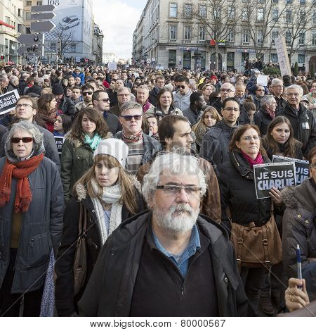 Lyon, France - January 11, 2015: Anti Terrorism Protest. 8