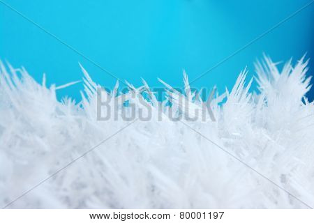 macro texture of frost and snow in the sunlight