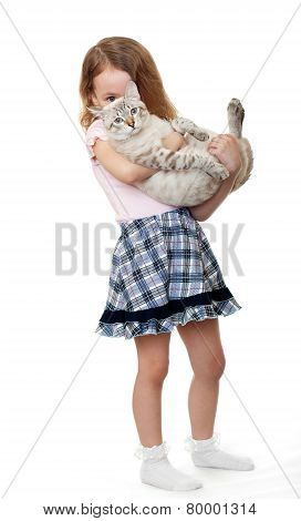 Little girl with cat.