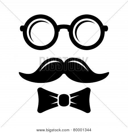 Hipster Style Set Bowtie, Glasses and Mustaches. Vector