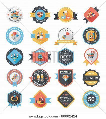 Wedding Badge Banner Flat Design Background Set, Eps10