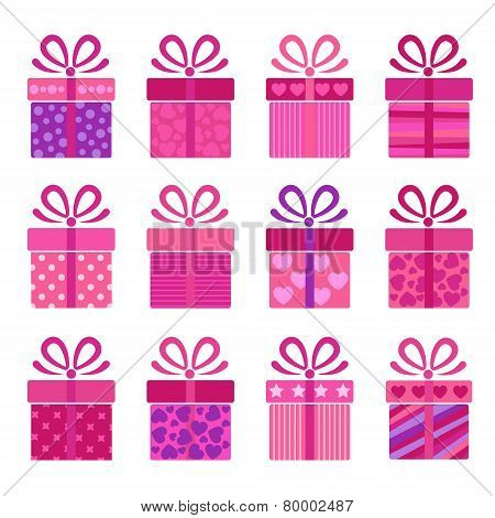 collection of vector present boxes