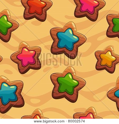 Seamless pattern with wooden stars
