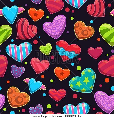 Seamless pattern with cute cartoon bright hearts