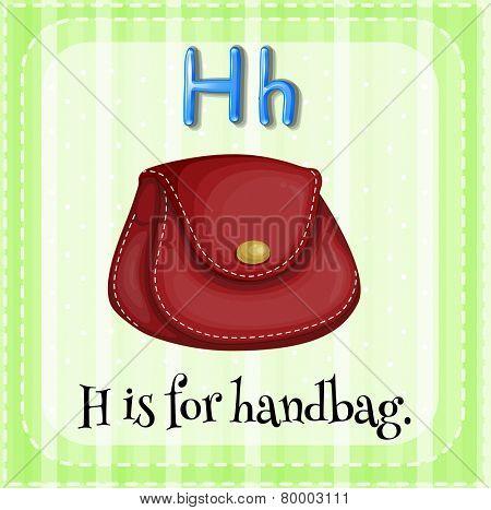 Illustration of an alphabet H is for handbag
