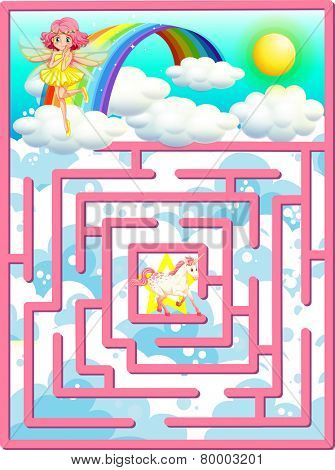 Illustration of a puzzle game with fairy scene