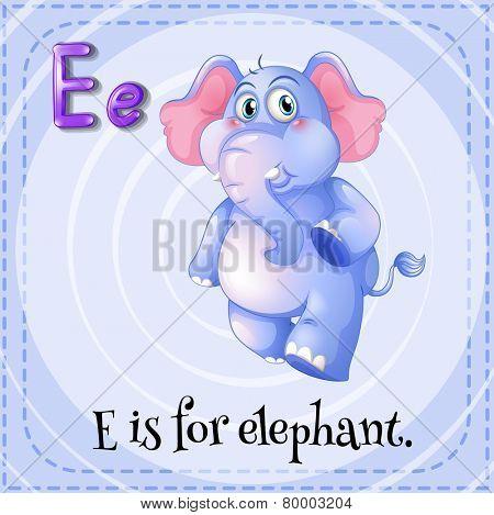 Illustration of an alphabet E is for elephant