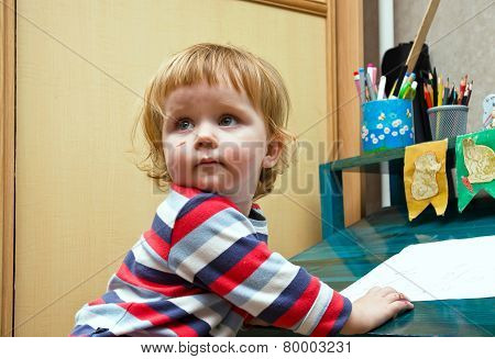 Cute Little Girl Smearing By Felt Pen's Colors