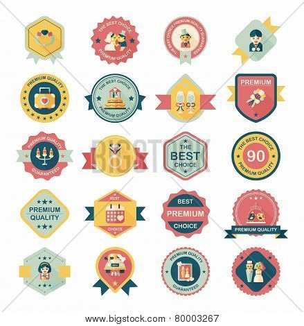 Wedding Badge Banner Flat Design Background Set, Eps10