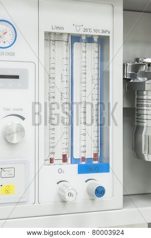 Flowmeter On Medical Hospital Anesthetic Machine