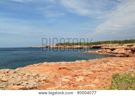 Small Empty beach sea shore with rocks and waves