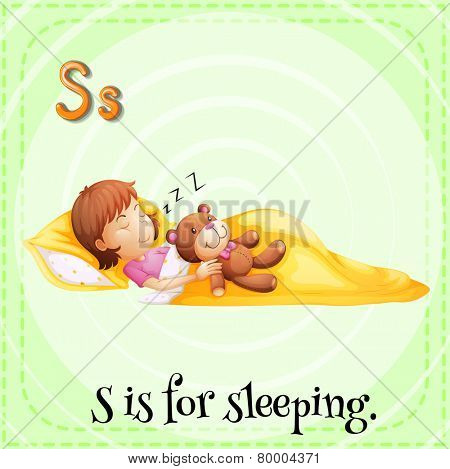 A letter S which stands for sleeping