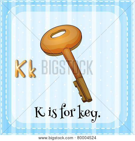 Illustration of an alphabet K is for key