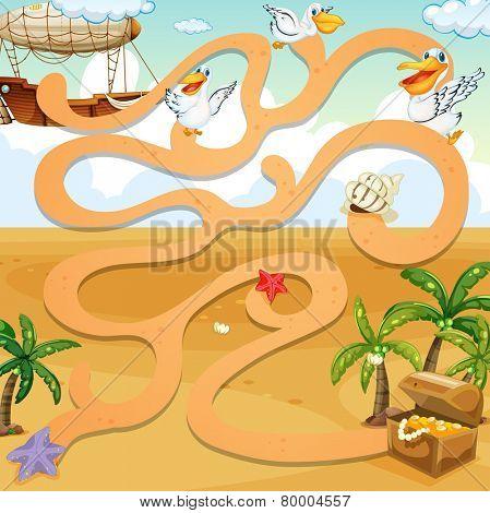 A maze game at the seashore